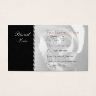 Modern Elegant White Bridal Rose On Black Business Card