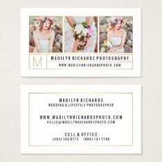 Modern Elegant White Chic Gold Lines Photography Business Card at Zazzle