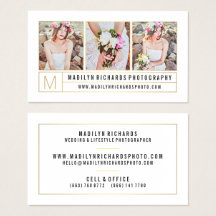 Modern elegant white chic gold lines photography business card