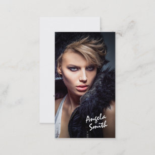 Model business cards zazzle modern elegant white circle model photo portfolio business card colourmoves