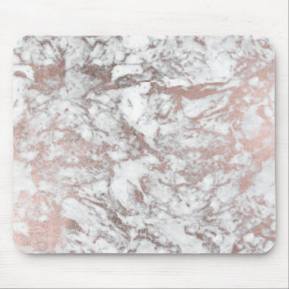 Modern elegant white faux rose gold marble mouse pad