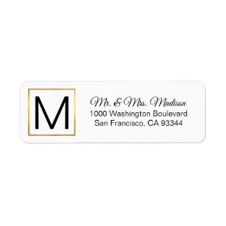 Modern Elegant White Gold Frame Monogram Initials Label