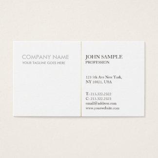 Modern Elegant White Gold Simple Corporate Plain Business Card