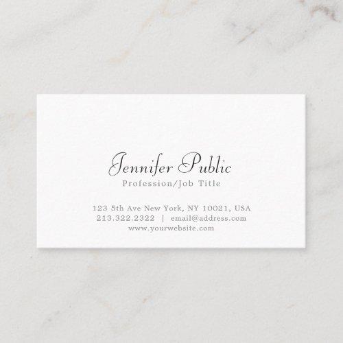 Modern Elegant White Simple Professional Plain Business Card