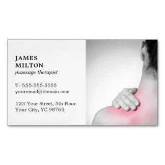Modern Elegant Whitw Photo Massage Therapist Magnetic Business Card