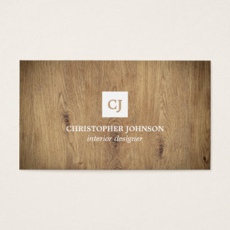 Modern Elegant Wooden Monogram Interior Designer Business Card