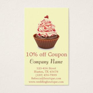modern elegant yellow pink coupon cupcake business card