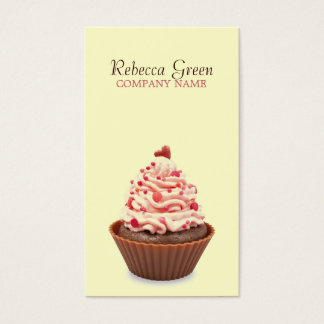 modern elegant yellow pink cupcake business card