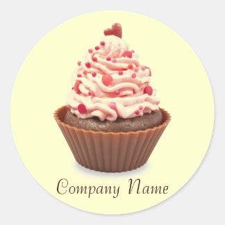 modern elegant yellow pink cupcake business classic round sticker