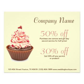 modern elegant yellow pink cupcake business personalized flyer