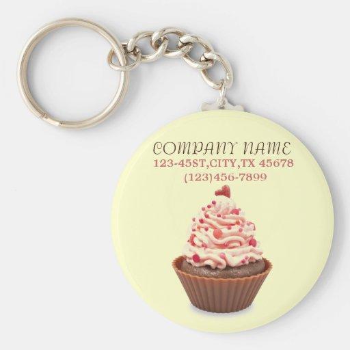 modern elegant yellow pink cupcake business keychains
