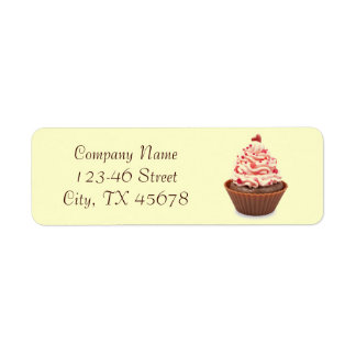 modern elegant yellow pink cupcake business label