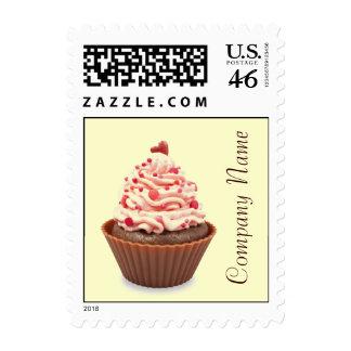modern elegant yellow pink cupcake business stamps