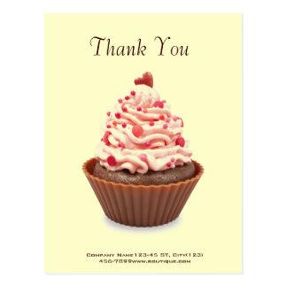 modern elegant yellow pink cupcake business postcard