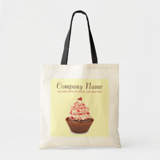 modern elegant yellow pink cupcake business tote bag