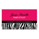 Modern Elegant Zebra Print Hair Stylist Hot Pink Business Cards