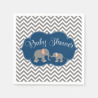 Modern Elephant Chevron Navy Blue Gray Baby Shower Paper Napkins