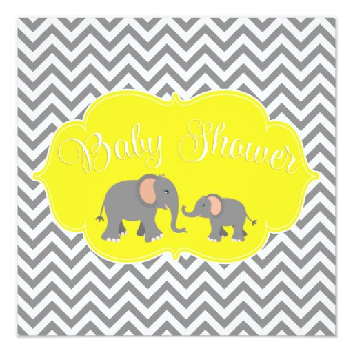 modern elephant chevron yellow gray baby shower square paper