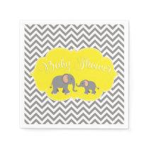 Modern Elephant Chevron Yellow Gray Baby Shower Paper Napkin