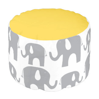 Modern Elephant Gray Yellow Pattern Pouf