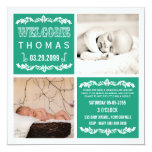 "Modern Emerald Baby Sip & See Party Photo Cards 5.25"" Square Invitation Card"