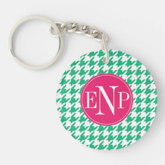 Modern Emerald Green Houndstooth Personalized Keychain