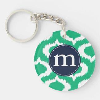 Modern Emerald Green Ikat Diamonds Personalized Keychain