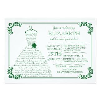 Modern Emerald Green Wedding Dress Bridal Shower Card