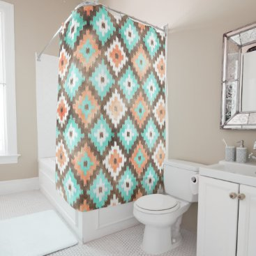 Beach Themed Modern Ethnic Kilim Mosaic Pattern Watercolor Shower Curtain