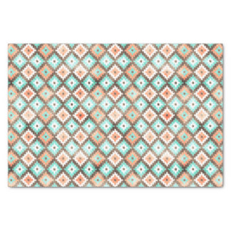 Modern Ethnic Kilim Mosaic Pattern Watercolor Tissue Paper