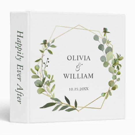 Modern Eucalyptus Geometric Frame Floral Wedding 3 Ring Binder