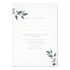 Modern Eucalyptus Greenery Wedding Invitation at Zazzle