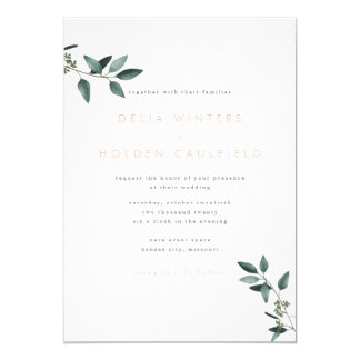 Modern Eucalyptus Greenery Wedding Invitation