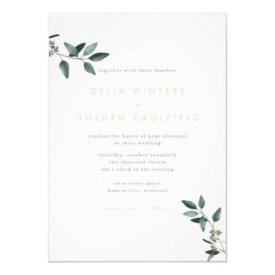 Modern Eucalyptus Greenery Wedding Invitation