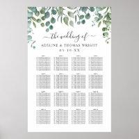 Modern Eucalyptus Leaves Greenery Wedding Seating Poster
