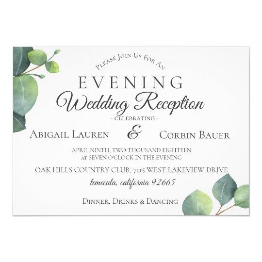 Modern Eucalyptus Wedding Reception Invitation