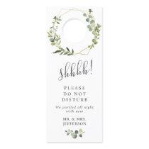 Modern Eucalyptus Wedding Welcome Do Not Disturb Door Hanger