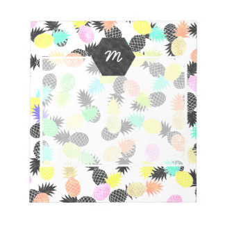 Modern exotic watercolor pineapples pattern note pad
