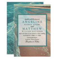 Modern Fade Tropical Beach Sea Wedding Card