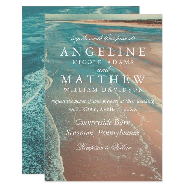 Modern Fade Tropical Beach Sea Wedding Card