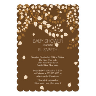 Modern Fall Autumn Leaf Baby Shower Invitation