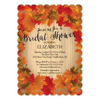 Modern Fall Autumn Leaf Bridal Shower Invitation