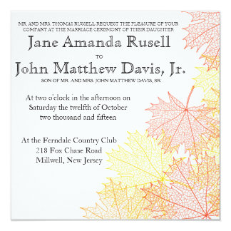 Modern Fall Autumn Leaves Wedding Invitation