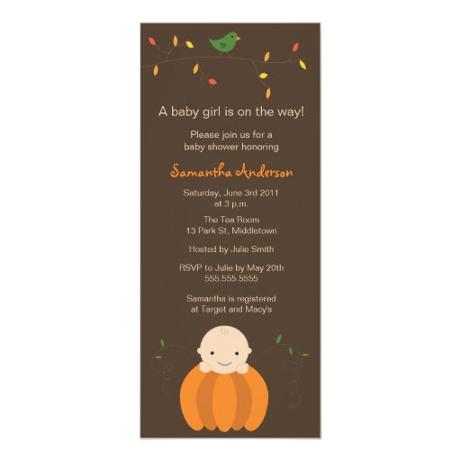 Modern Fall Baby Shower Inviation - Girl Personalized Invites