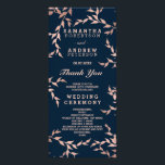 """Modern fall rose gold branch navy wedding program<br><div class=""""desc"""">Modern fall rose gold branch navy wedding. A modern,  original and simple faux rose gold foil hand drawn floral branches wedding program on a fully customizable elegant navy blue color background. Perfect for chic,  elegant theme wedding,  perfect for fall and winter weddings</div>"""