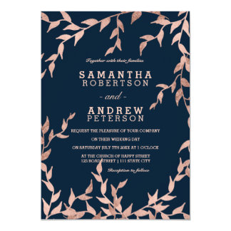Modern fall rose gold floral branch navy wedding card
