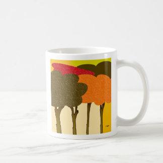 Modern Fall Trees Classic White Coffee Mug