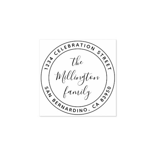 Modern Family Name Script Round Return Address Rubber Stamp
