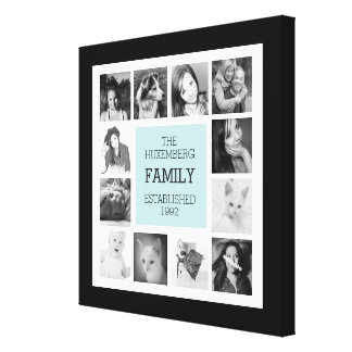 Modern Family Photo Collage with Instagram Pics Stretched Canvas Print