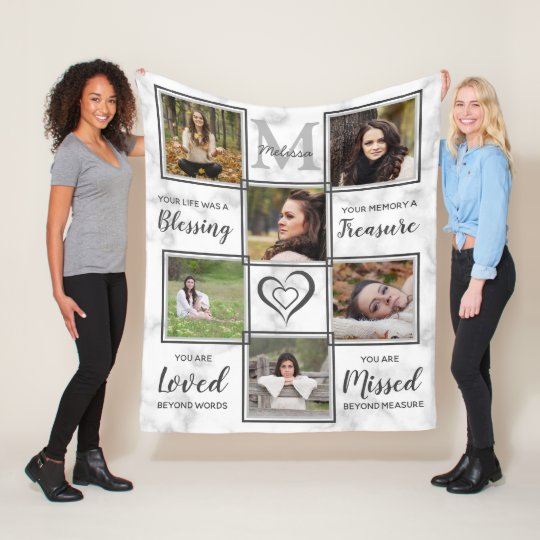 Modern Family Remembrance Keepsake Photo Collage Fleece Blanket